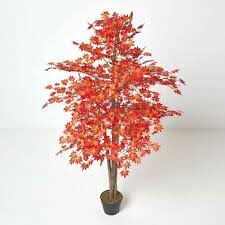 Homescapes Red <b>Maple Tree Artificial Plant</b> with Black Pot | eBay