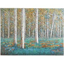 tree scene metal wall art: teal birch trees art   teal birch trees art