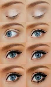 simple makeup for blue eyes white eyeshaow tricks liquid black eyeliner winged mascara simple everyday beauty
