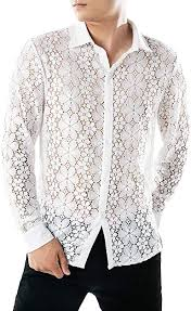 TUDUZ New <b>Men's Autumn</b> Casual Lace Shirts <b>Breathable</b> Full Lace ...