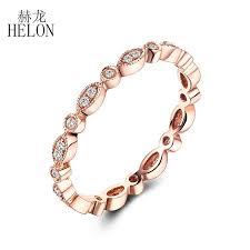 2019 <b>Helon</b> Fine <b>Diamonds</b> Band Solid 14k Rose Gold <b>Pave</b> Bezel ...