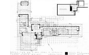 Floor Plan  amp  ElevationsThe original house plans show Wright    s preferred smaller basement and the beginnings of a fountain design anchoring the front patio screen wall
