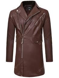 Men's Trench Zipper <b>Large</b> Lapel Casual Slim Long Leather Sale ...