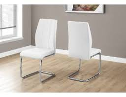 "<b>DINING CHAIR</b> - <b>2PCS</b> / 39""H / WHITE LEATHER-LOOK / CHROME ..."