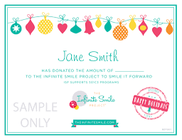smile it forward this holiday ~the kindest gift you can give the holiday certificate