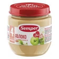 <b>Пюре Semper</b> (<b>Семпер</b>) <b>Яблоко</b>, с 4 мес., 125 гр. (12 шт.)