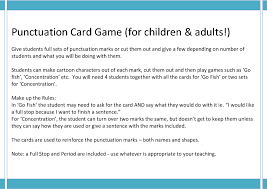 free punctuation worksheets punctuation mark card game