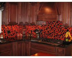 red glass tile kitchen backsplash