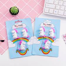 <b>3 pcs</b>/pack <b>Cartoon Unicorn</b> Rainbow Erasers Writing Drawing ...