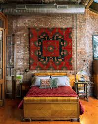 eclectic bedroom guest decorating ideas eclectic bedroom design brick walls colonial french doors red tapestry