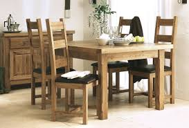chair dining room tables rustic chairs: affordable rustic untreated oak dining table square legs with black leather seats and high back chairs