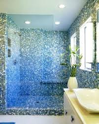blue bathroom tile ideas: small white ceramics plant vase decor combined with