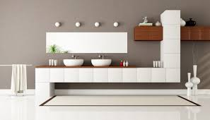 interesting grey and white color ideas in modern bathroom with elongated bathroom vanity cabinets coupled by simple designer bathroom vanity cabinets