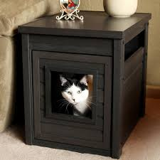 fascinating cat litter box furniture using dark maple material with square entry hole beside fluffy sofa cat litter box covers furniture