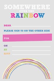 party printables set the rainbow party 6x4 photo sized party invitation