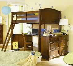 wooden full size loft bunk bed with large desk and chest of drawer bunk beds desk drawers bunk