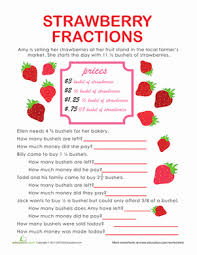Fraction Word Problems: Strawberry Stand | Worksheet | Education.comFifth Grade Fractions Word Problems Worksheets: Fraction Word Problems: Strawberry Stand
