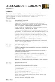maintenance supervisor resume samples   visualcv resume samples    maintenance supervisor resume samples