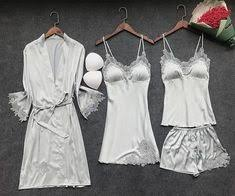 <b>ZOOLIM</b> 4 Pieces <b>Women Pajamas Sets</b> Satin Sleepwear Silk ...
