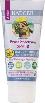 Badger Active SPF <b>30 Clear Zinc</b> Unscented <b>Sunscreen</b> Cream - 2.9 ...