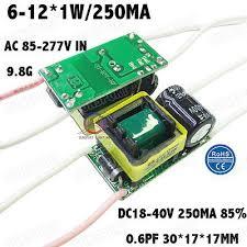 5PCS AC85-277V <b>10W</b> LED Driver 6-12x1W 250mA DC18-40V ...