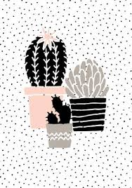Hand Drawn Cactus Plants In Black, White, Taupe And Pastel <b>Pink</b> ...