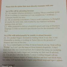an australian couple have sent the best wedding rsvp card ever Declining A Wedding Invitation 'it's another f******' destination wedding!' declining a wedding invitation etiquette