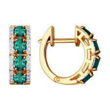 Золотые <b>серьги с изумрудами</b> в окружении бриллиантов ...