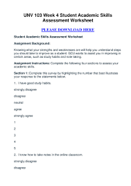 unv week student academic skills assessment worksheet