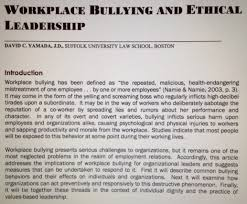 re ing workplace bullying and ethical leadership minding i recently had occasion to re an article i wrote back in 2008 workplace bullying and ethical leadership which appeared in the journal of