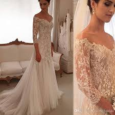 Sleeved Wedding Gowns <b>Sheath</b> Lace And Tulle Off The Shoulder ...