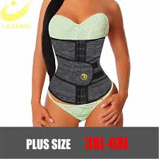 lazawg women waist trainer body shaper double closure firm tummy control belt trimmer weight lost corset modeling strap