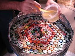 image of bottle cap table designs with resin top bottle cap furniture
