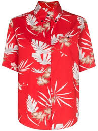 Shop red Paco Rabanne <b>Hawaiian style floral</b> shirt with Express ...