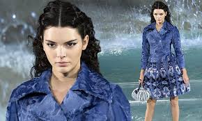 Kendall Jenner models beautiful blue embellished coat for Fendi