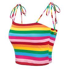 Allegra K <b>Women's</b> Colorful <b>Rainbow Striped</b> Tie Spaghetti Straps ...