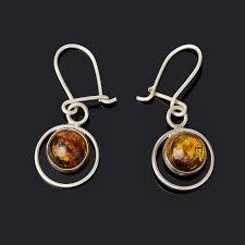<b>Серьги янтарь</b> (<b>латунь посеребр</b>.) - mineralmarket.ru - imall.com