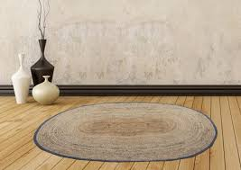 Jute Mat - Oval <b>Design</b> - Natural Rugs - <b>Braided Area Rug</b> With Grey ...