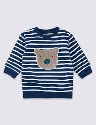 <b>Organic Cotton</b> Stripe <b>Bear</b> Sweatshirt | M&S