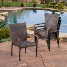 wicker stackable patio chair espresso set outdoor pe wicker stackable arm club chairs set of  by christopher kni