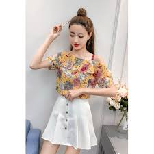 New floral <b>chiffon shirt short</b>-sleeved women's off-shoulder top was ...