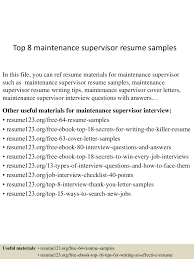 top8maintenancesupervisorresumesamples 150425024814 conversion gate01 thumbnail 4 jpg cb 1429948137