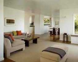 chic minimalist living room design with multi canvas artwork on the wall also nice low table chic feng shui living room