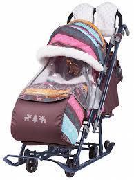 <b>Санки</b>-коляска с колесами Nika <b>Ника</b> детям 7-3/5 розовые ...