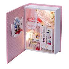 diy wooden doll house of baby diary with led lightcreative book model miniature dollhouse brand baby wooden doll house