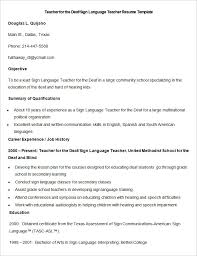 teacher resume templates – free sample  example format    sample deaf sign language teacher resume template