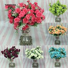 1 Bouquet <b>5 Branches</b> 15 Heads Artificial <b>Rose</b> Faux Flower ...