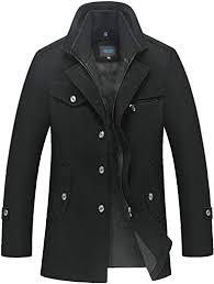 QUINTRA <b>Mens</b> Winter Thickened Warm Woolen Coat <b>Solid Color</b> ...