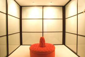 brilliant walk in closet design with classic luxury interior decoration unique red ottoman at walk in architecture awesome modern walk closet