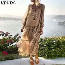 VONDA Bohemian <b>Summer</b> White Lace Dress <b>2019 Women Sexy</b> V ...